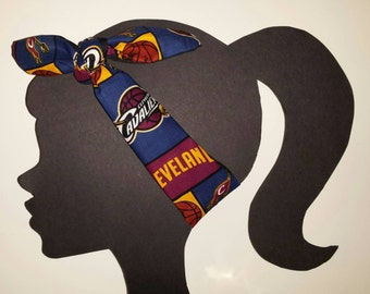 Cleveland Fan Headband made with Officially Licensed Cavaliers Fabric NBA accessory Tie head wrap Turban Cavaliers Headband NBA Headband