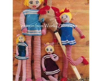 Vintage Doll Toy Knitting Knitted Knit Long Legs Pattern PDF 562 from WonkyZebra / ToyPatternLand