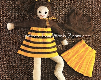 Vintage toy doll knitting knitted knit Pattern PDF 565 from WonkyZebra and ToyPatternLand