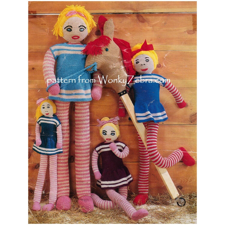 Knitting Pattern For Long Legged Doll : Vintage Doll Toy Knitting Knitted Knit Long Legs Pattern PDF