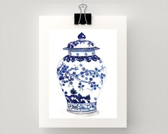 REPRODUCTION PRINT Blue and white  ming vase  with cherry blossom watercolour print.