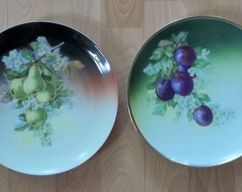 TWO Vintage Three Crown China Germany Hand Painted PLATES Pears & Plums GREAT