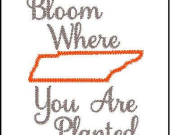 Tennessee embroidery design Tennessee applique Bloom where you are planted embroidery design