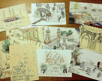 Travel Sketch Postcard Set (10)