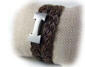 Damen Armband Leder geflochten antik braun silber - Edelstahl - Wickelarmband -  Geschenk für Sie beste Freundin Mutter Ehefrau Schwester