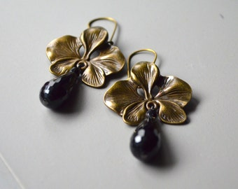 orchid drop earrings onyx