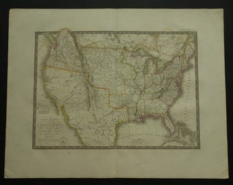 Usa Old Map Of The Us 1825 Large Original Antique Poster Of Usa California Mexico Texas