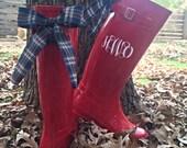 Red rain boots with plaid bow, white custom monogram