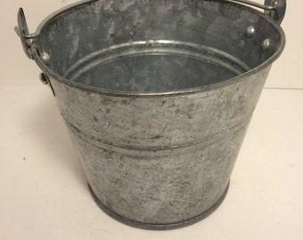 SALE! Rustic Metal Bucket  *FREE SHIPPING* Medium Sized Rustic Metal Garden, Farm Bucket or Pail, Farmhouse Antique Decor