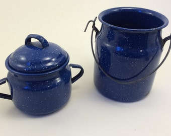Enamel or Enamelware Sugar Bowl and Cream Jug, Pail, Bucket - Blue Speckled
