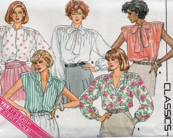 Vintage 1986 Butterick CLASSICS Pattern 3641 BLOUSES Misses 6 8 10