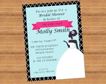 Customizable Blue and Pink Silhouette Bridal Shower Invitation