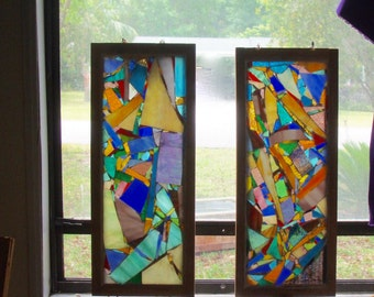 GLASS ART MOSAIC- Window Hanging- Stained Glass Panels