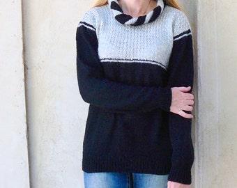 Knit sweater.Black Sweater. Hand knit women sweater.Black and Gray Woman Sweater. MADE TO ORDER