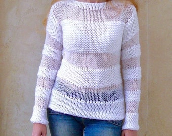 White sweater.Hand knit sweater. Womens clothing.Women's sweater. MADE TO ORDER