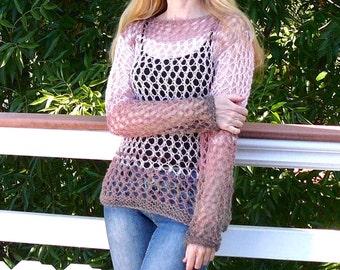 Women sweater.Hand knit loose sweater Pink sweater.Hand knitted sweater. Knit sweater