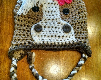 Tan/brown/white Horse Crochet Hat made in NB, baby, infant, toddler and kid sizes
