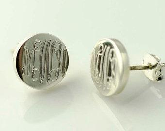 Monogram Earrings, Tiny Silver Stud Earrings, Initial Earrings, Minimalist Earrings, Bridesmaid Gift, Engraved, Sterling,  Custom Earrings