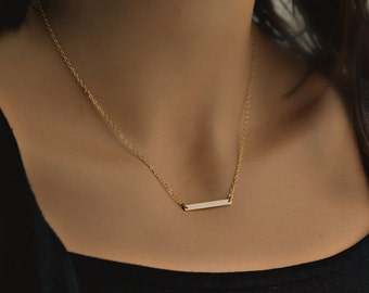 Skinny Gold BAR Necklace |Thin Gold Bar Necklace | Personalized Bar Layering Necklace  | 14 Kt Gold Filled Bar