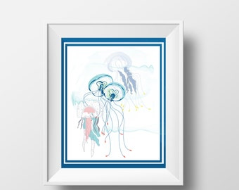 Poster 8x10 Jellyfish, ideal for bedroom, kids bedroom, sweet illustration, blue, green, ocean. Digital printing