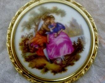 Vintage Signed Limoges Victorian Scene Convex Porcelain Brooch in Gold Toned Setting