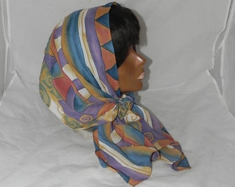 Boho Chic Tichel Hair Snood Head Scarf Pre Tied Bandana Blue Orange Purple Green White Abstract - El & Co - 100% Polester