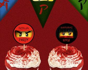 Ninja Cupcake Toppers: Instant Download