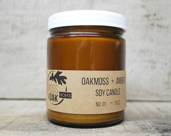 Oakmoss + Amber Soy Candle    9 oz