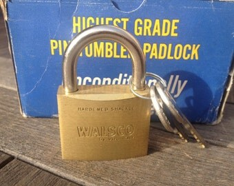 Vintage Heavy Duty Brass WALSCO Padlock with Keys, Upcycle, Valuables Security,Steampunk, Collectable