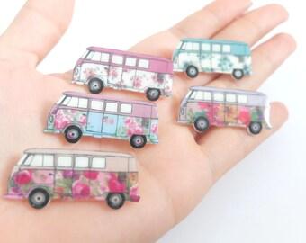 Floral VW campervan brooch. in 5 styles