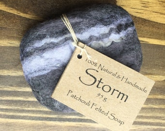 STORM Patchouli Felted wool soap. Natural & Handmade.
