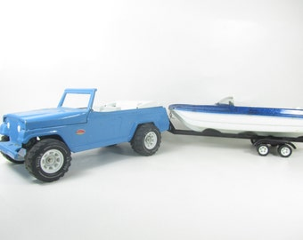 TONKA METAL JEEP, Toy Jeep, Vintage Toy, Blue Toy Jeep, 1960s Toy,truck and boat,toy boat,trailor,collectible toy,vintage toy,