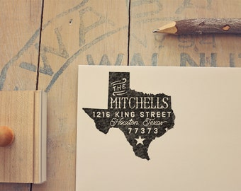 Texas Return Address State Stamp - Personalized Rubber Stamp