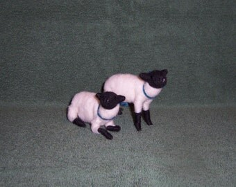 needle felted wool sheep pair
