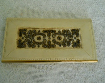 Vintage~ 1950's Lambskin Leather Wallet~ Beaded & Embossed~ Made in England ~ Cream Color