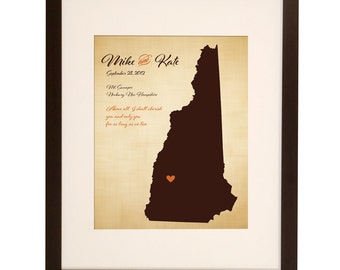 Cotton Anniversary Gift New Hampshire Wedding Map