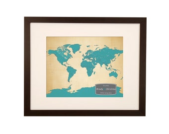 Push Pin World Map - 2nd wedding anniversary gift - INCLUDES 100 Map Pins 11x14 framed to 16x20