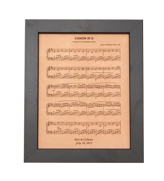 Leather anniversary gift engraved sheet music by