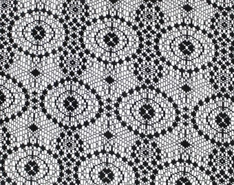 Tiffany Vintage Lace Fabric Black by the yard - Tiffany Vintage Pattern  - 1 Yard style 294