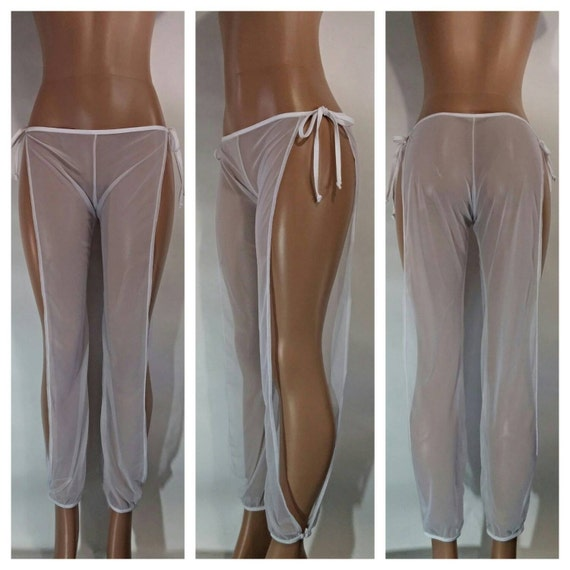 Tie Side Sheer Mesh Beach Pants For Exotic Dancers or a Sexy Cover up for Pool or Beach
