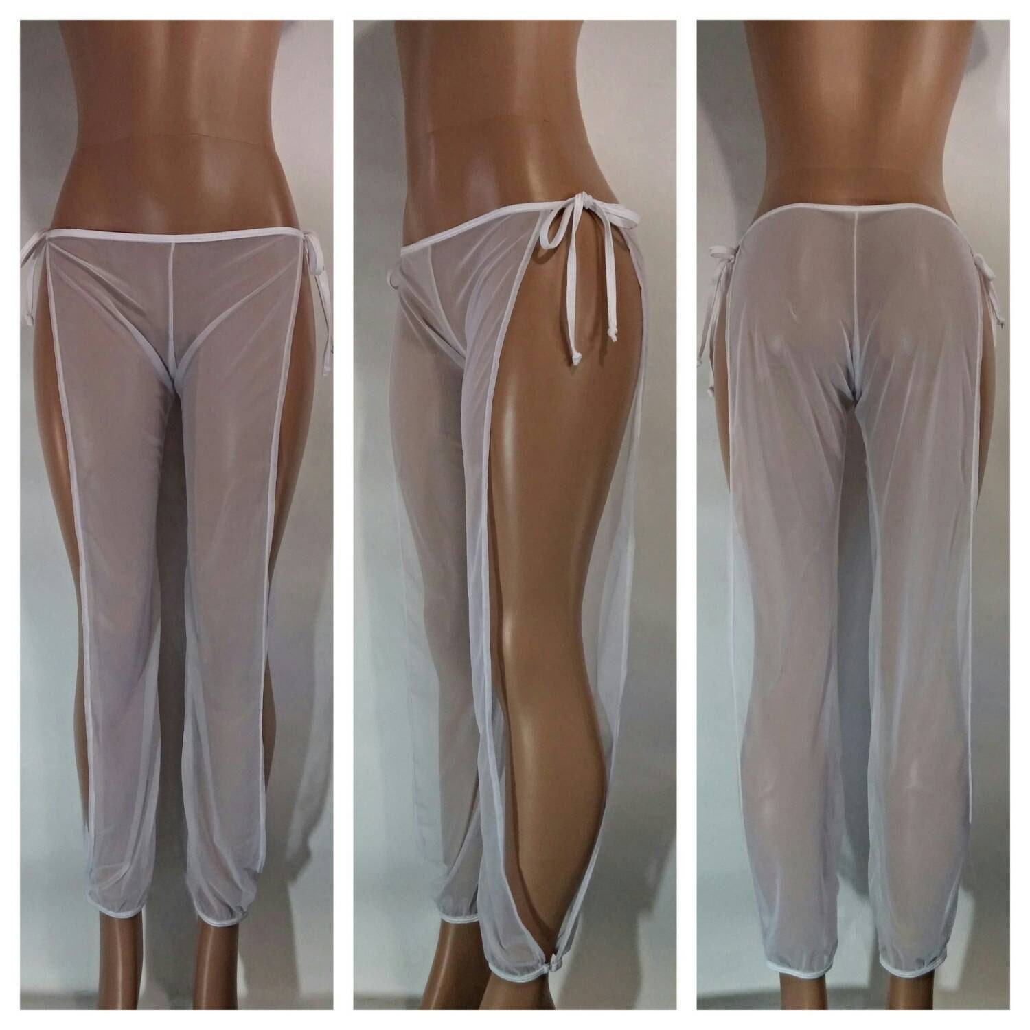 Tie Side Sheer Mesh Beach Pants For Exotic Dancers or a Sexy