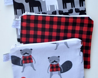 Choose Your Print and Size - Eco Friendly Reusable Snack Bag - Woodland Moose Grey, Red Black Buffalo Plaid, Burly Beavers