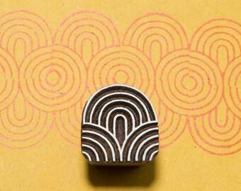 Circles 166, wood block stamp