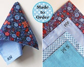 CUSTOM order for TRACY - Patterned Modern Hanky - Monogrammed Personalised Initial Handkerchief - Mens Women Pocket Square Hanky
