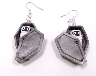 halloween earrings,  mummy coffin earrings