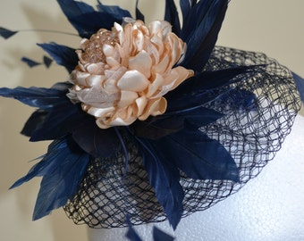Navy and champagne fascinator