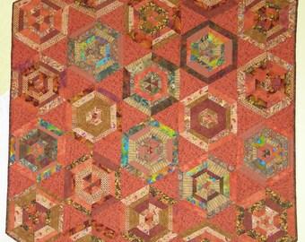Orange hexagon quilt