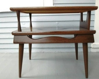 Vintage, End Table, Side Table, Sofa Table,  Wood, Two Tier, Mid Century, Danish Modern, Vintage, Living Room Furniture, RhymeswithDaughter