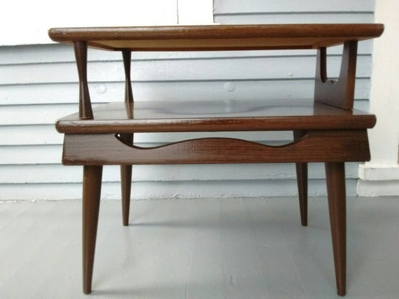 Unique End Table Mid Century Danish Modern Two Tier