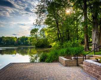 Promenade along the shore of Wilde Lake in Columbia, Maryland.   Photo Print, Stretched Canvas, or Metal Print.